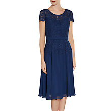 Buy Gina Bacconi Lace Bodice Dress And Chiffon Scarf, Navy Online at johnlewis.com