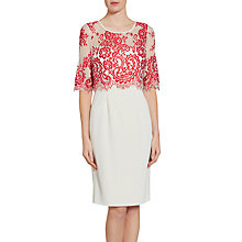 Buy Gina Bacconi Embroidered Net Bodice Dress, Red Online at johnlewis.com