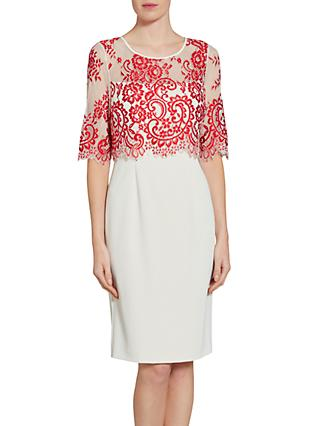 Gina Bacconi Embroidered Net Bodice Dress, Red