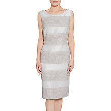 Buy Gina Bacconi Crepe Chine And Antique Foil Panel Dress, Taupe Online at johnlewis.com