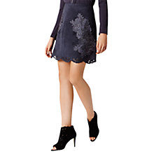 Buy Coast Fretwork Lace Trim Skirt, Black Online at johnlewis.com