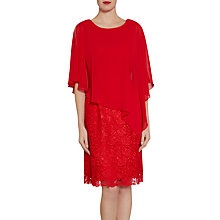 Buy Gina Bacconi Lace Dress And Chiffon Cape, Red Online at johnlewis.com