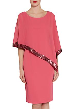 Gina Bacconi Crepe Dress And Sequin Chiffon Cape, Coral Red