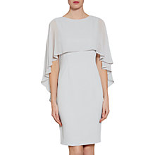 Buy Gina Bacconi Crepe Dress And Chiffon Cape, Silver Mist Online at johnlewis.com