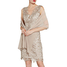 Buy Gina Bacconi Beaded V-Neck Lace Dress And Chiffon Scarf, Taupe Online at johnlewis.com