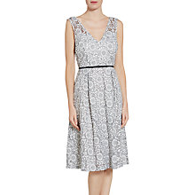 Buy Gina Bacconi Enchanted Floral Metallic Embroidered Dress, White/Black Online at johnlewis.com