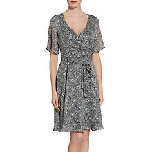 Buy Gina Bacconi Itsy Metallic Chiffon Dress, Black/White Online at johnlewis.com