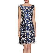Buy Gina Bacconi Satin Applique Mesh Dress, Navy Online at johnlewis.com