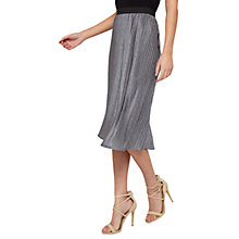 Buy Miss Selfridge Pleated Midi Skirt, Mid Grey Online at johnlewis.com