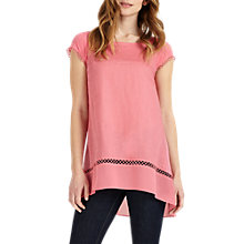 Buy Phase Eight Ava Crochet Trim Blouse, Pink Online at johnlewis.com
