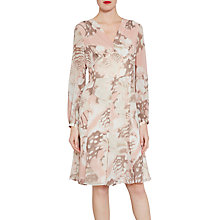 Buy Gina Bacconi Watercolour Floral Print Chiffon Dress, Taupe/Blush Online at johnlewis.com