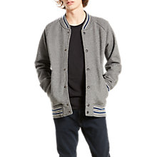 Buy Levi's Fleece Bomber Jacket, Grey Heather/Dress Blues Online at johnlewis.com