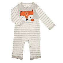 Buy John Lewis Baby Jersey Long Sleeve Fox Romper, Grey Online at johnlewis.com