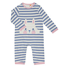 Buy John Lewis Baby Bunny Face Romper, Blue/Cream Online at johnlewis.com