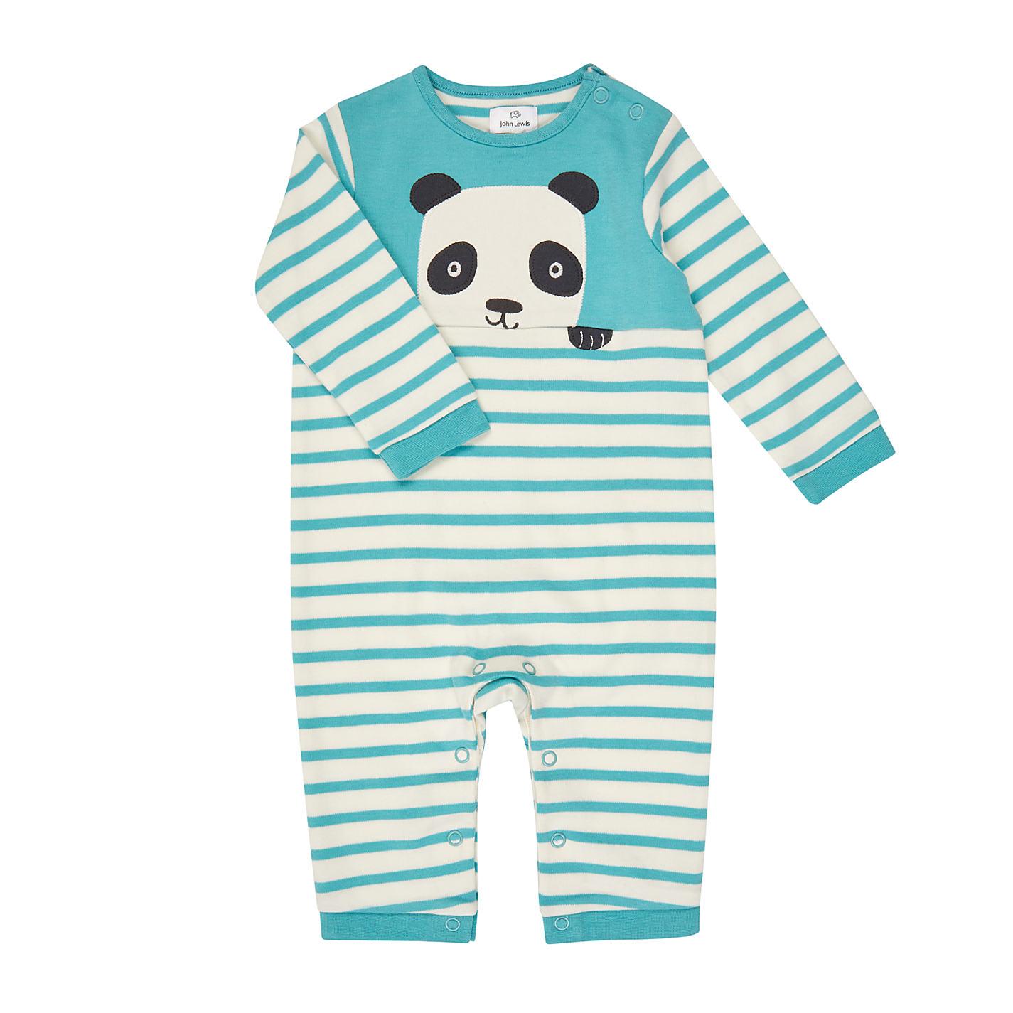 Top gifts for babies john lewis buy john lewis baby stripe panda long sleeve romper multi online at johnlewis negle Choice Image