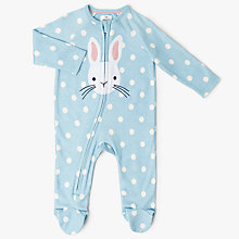 Buy John Lewis Baby Bunny Spot Long Sleeve Sleepsuit, Blue/White Online at johnlewis.com