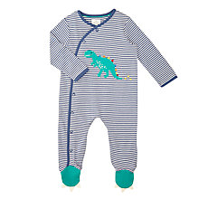 Buy John Lewis Baby Jersey Stripe Dino Foot Long Sleeve Sleepsuit, Navy/White Online at johnlewis.com