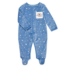 Buy John Lewis Baby Layette Velour Star Print Long Sleeve Sleepsuit, Blue/White Online at johnlewis.com