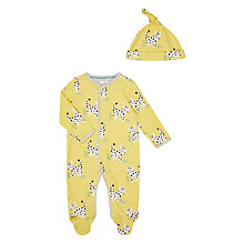 Buy John Lewis Baby Leopard Sleepsuit and Hat, Yellow/Multi Online at johnlewis.com