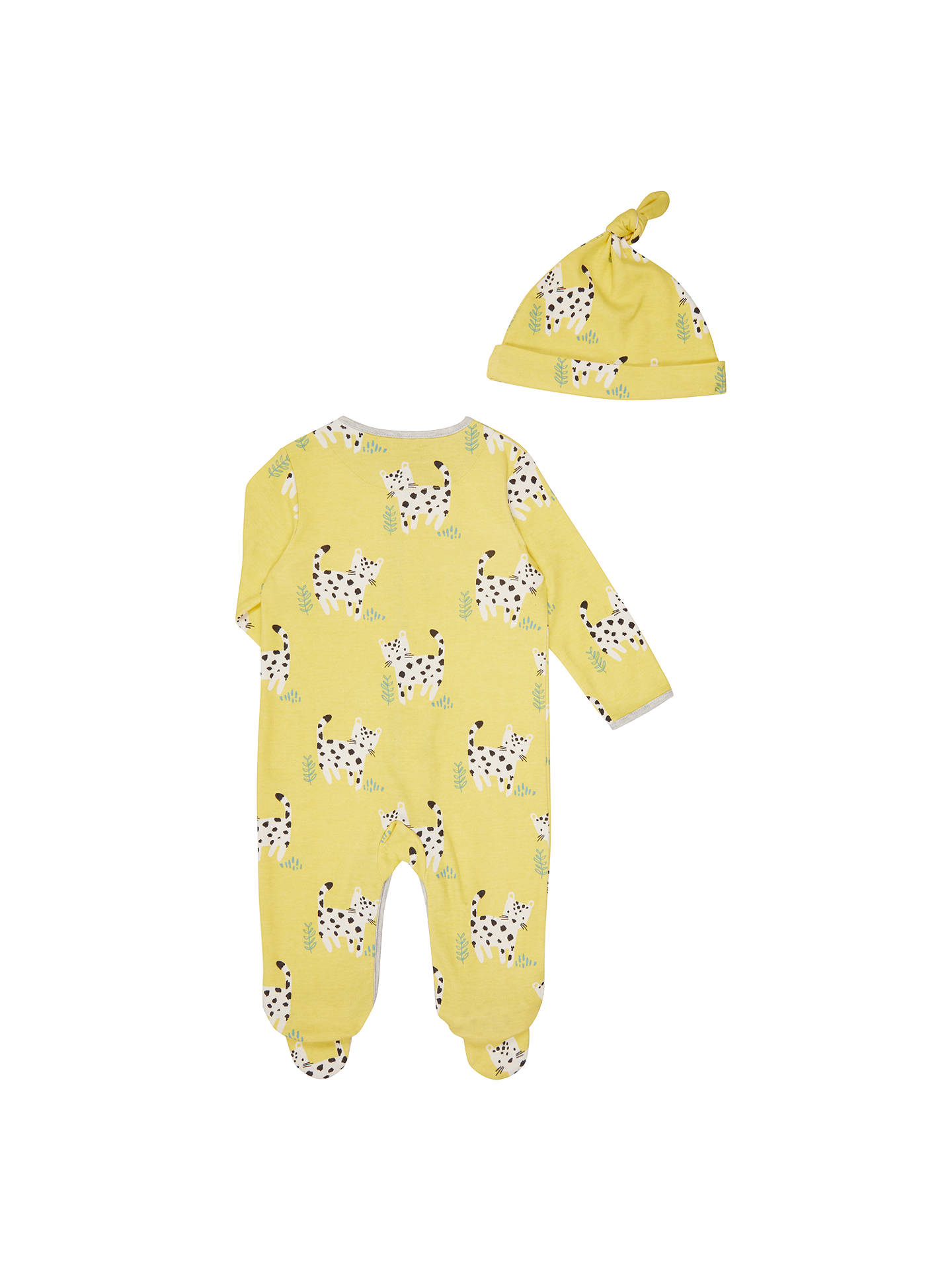 BuyJohn Lewis Baby Leopard Sleepsuit and Hat, Yellow/Multi, Newborn Online at johnlewis.com