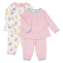 Buy John Lewis Owl Spot Jersey Pyjamas, Pack of 2, Pink Online at johnlewis.com