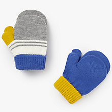 Buy John Lewis Baby Striped Magic Mittens, Pack of 2, Yellow/Blue Online at johnlewis.com