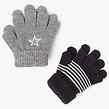 Buy John Lewis Baby Magic Star Gloves, One Size, Pack of 2, Grey/Black Online at johnlewis.com