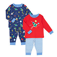Buy John Lewis Baby Space Jersey Pyjamas, Pack of 2, Navy/Red Online at johnlewis.com