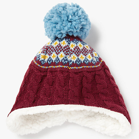 Buy John Lewis Children's Fair Isle Trapper Hat, Burgundy | John Lewis