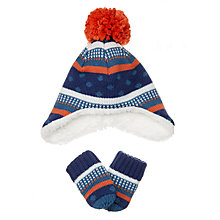 Buy John Lewis Baby Striped Hat and Glove Set, Navy Online at johnlewis.com