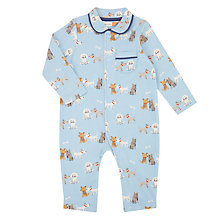 Buy John Lewis Baby All-Over Dog Romper, Blue/Multi Online at johnlewis.com