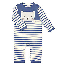 Buy John Lewis Baby Stripe Cat Long Sleeve Jersey Romper, Blue/White Online at johnlewis.com