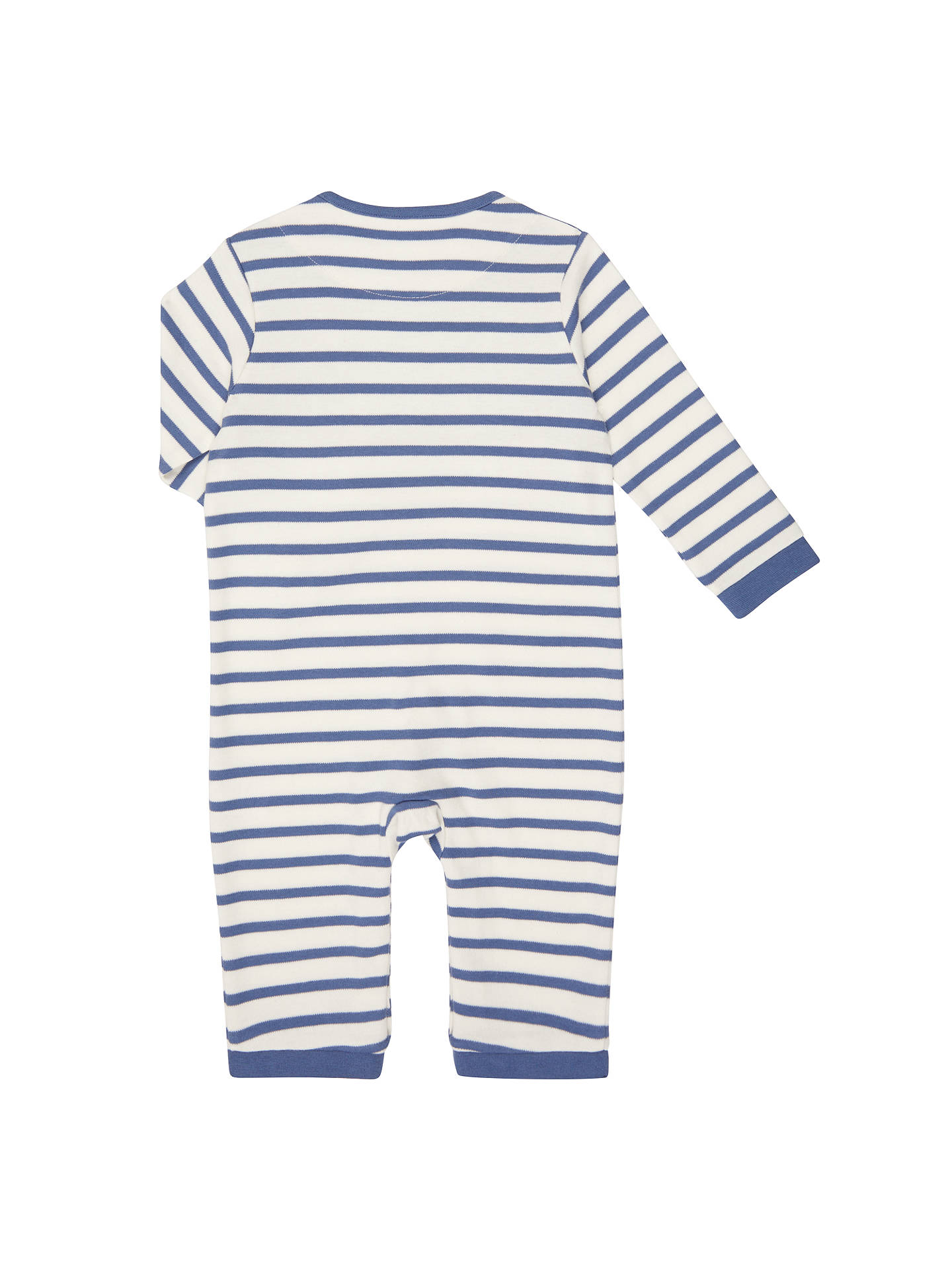 BuyJohn Lewis Baby Stripe Cat Long Sleeve Jersey Romper, Blue/White, Newborn Online at johnlewis.com