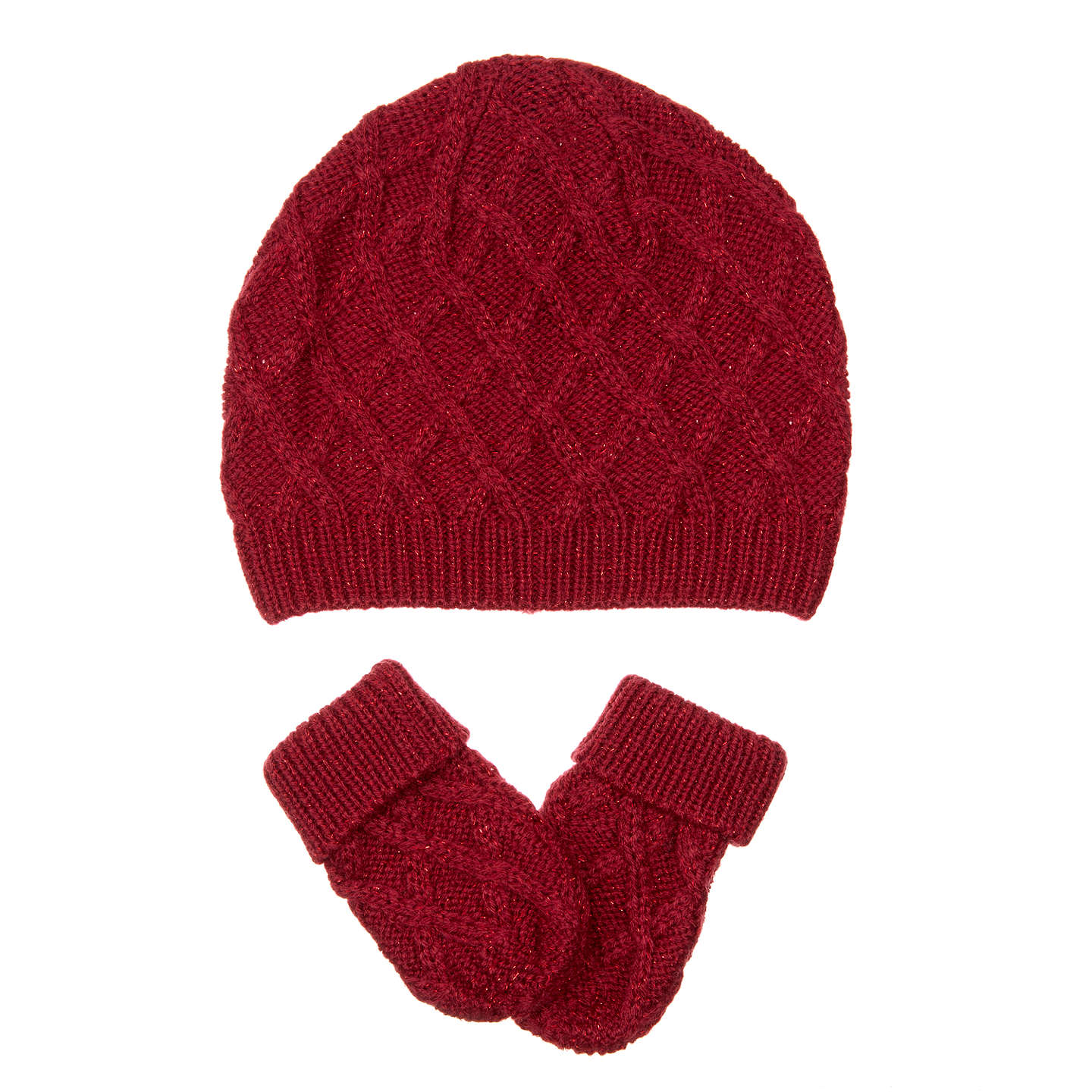 BuyJohn Lewis Baby Beret and Mitten Set, Red, 12-24 months Online at johnlewis.com