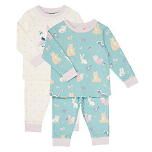 Buy John Lewis Baby Forest Friends Top and Bottoms Pyjama Set, Pack of 2, Aqua Online at johnlewis.com