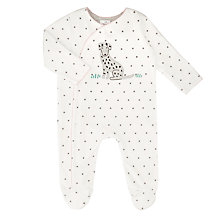 Buy John Lewis Baby Velour Dalmatian Sleepsuit, White/Black Online at johnlewis.com