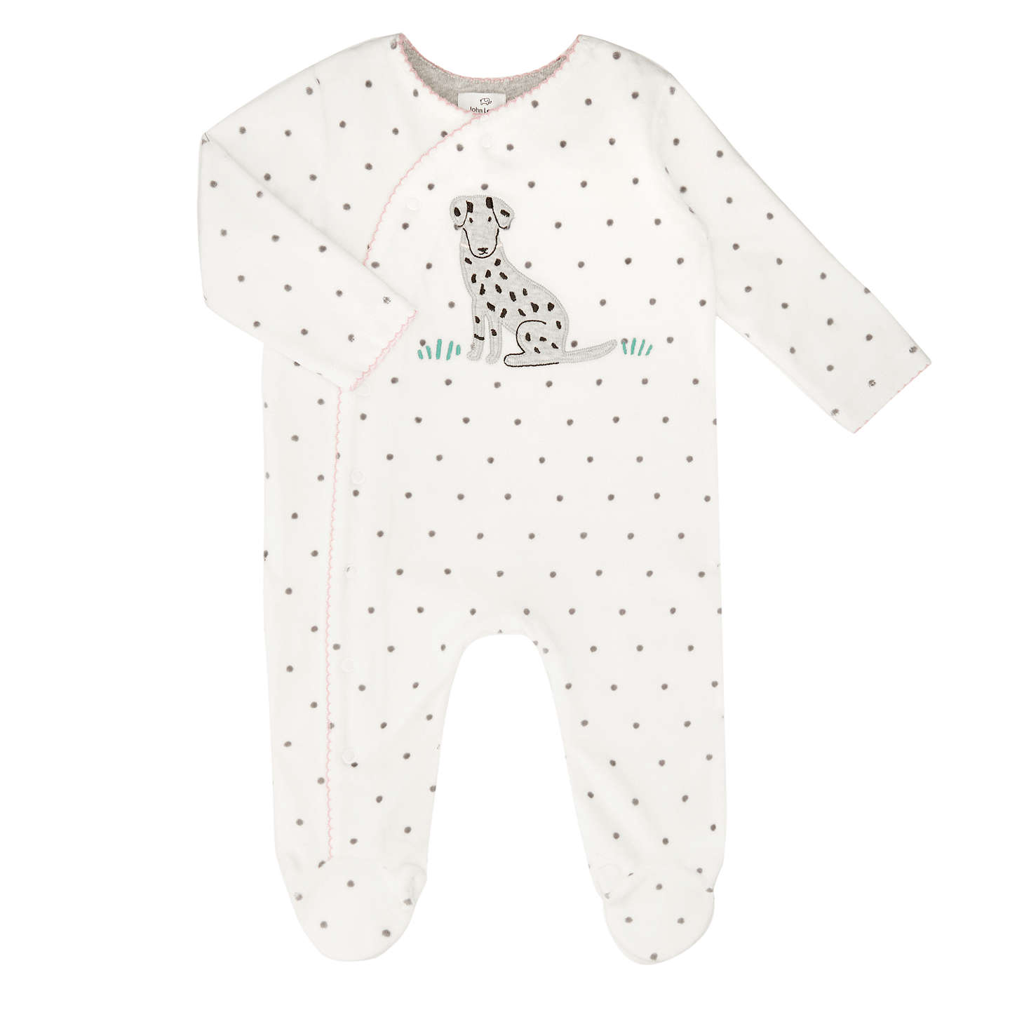John Lewis Baby Velour Dalmatian Sleepsuit White Black at John Lewis