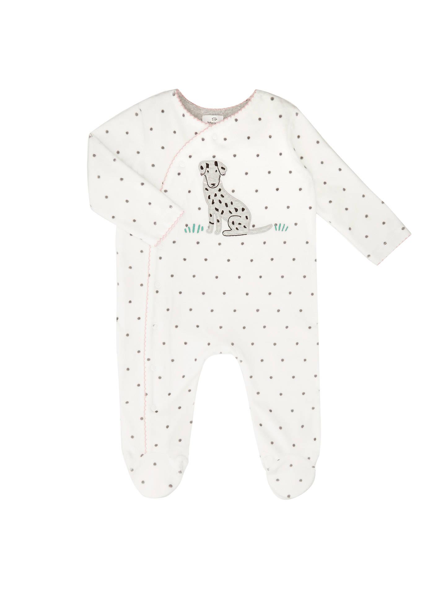 017d1a3363e0 John Lewis Baby Velour Dalmatian Sleepsuit
