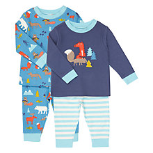 Buy John Lewis Baby Woodland Jersey Pyjamas, Pack of 2, Multi Online at johnlewis.com