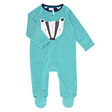 Buy John Lewis Baby Velstripe Badger Zip Sleepsuit, Green/White Online at johnlewis.com