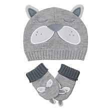 Buy John Lewis Baby Dog Hat and Gloves Set, Grey Online at johnlewis.com