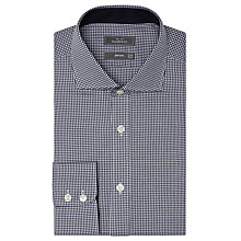 Buy John Lewis Non Iron Gingham Tailored Fit Shirt, Navy Online at johnlewis.com