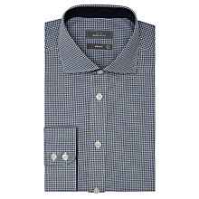 Buy John Lewis Non Iron XL Sleeves Regular Fit Fine Gingham Shirt, Navy Online at johnlewis.com