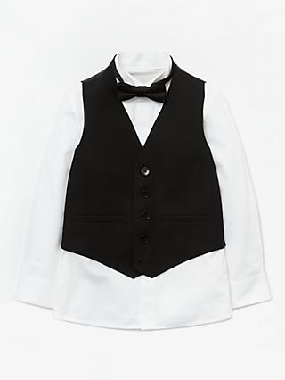 John Lewis & Partners Heirloom Collection Boys' Waistcoat, Bow Tie And Shirt Set, Black