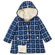 Buy Hatley Girls' Sherpa Heart Plaid Splash Jacket, Navy Online at johnlewis.com