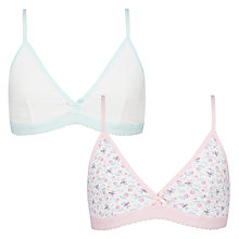Buy John Lewis Girls' Floral Bee Bra, Pack of 2, White Online at johnlewis.com