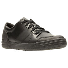 Buy Clarks Children's Harlem Racer Leather School Shoes, Black Online at johnlewis.com