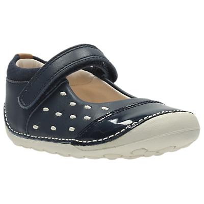 Clarks Children's Little Lou Shoes, Navy/White