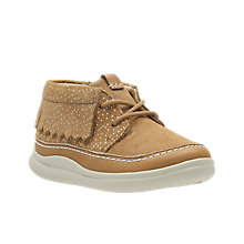 Buy Clarks Children's Cloud Aklark First Shoe, Tan Suede Online at johnlewis.com