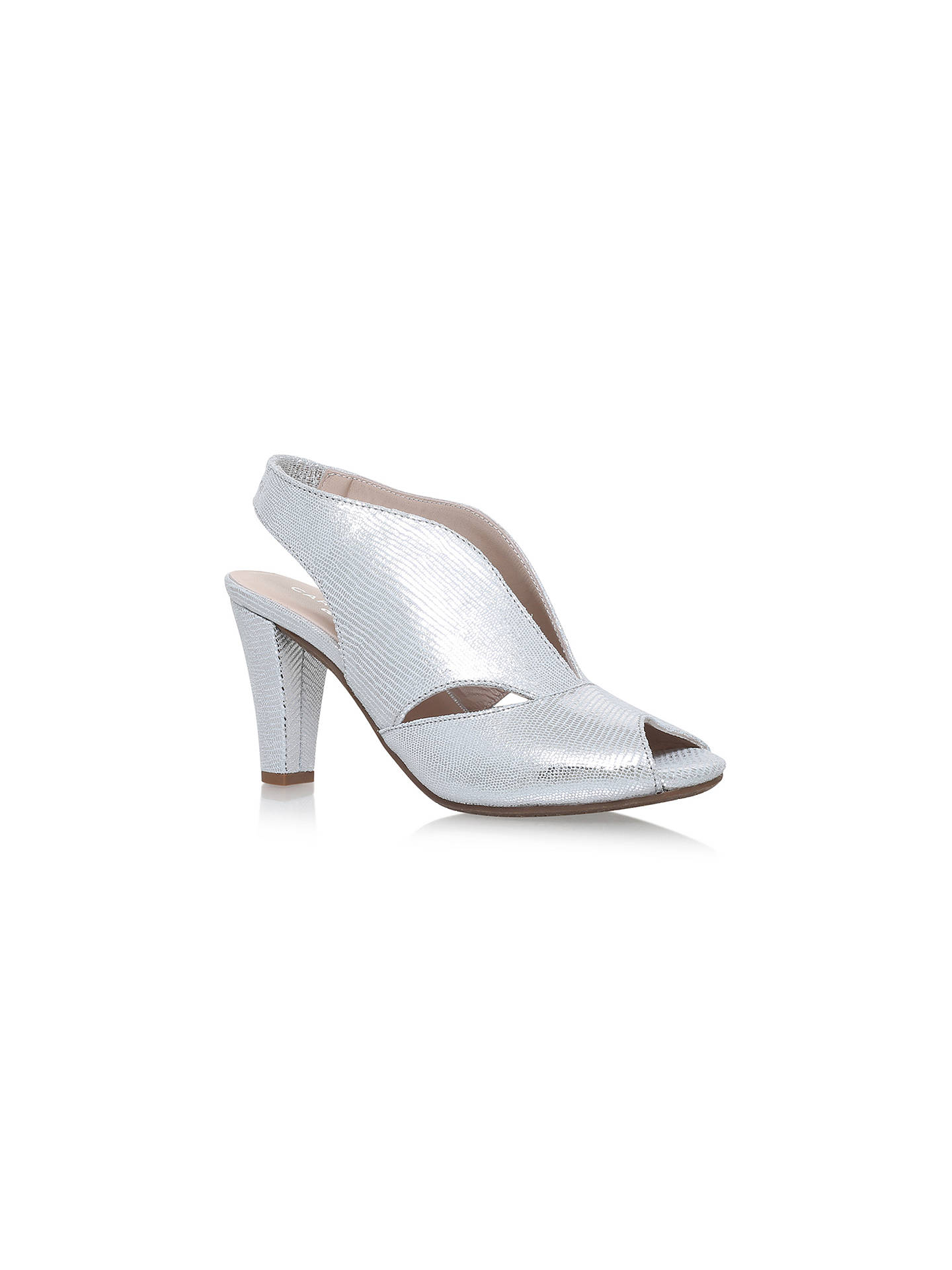 65c09636a5ca1 Buy Carvela Comfort Arabella Cone Heel Open Toe Court Shoes, Silver  Leather, 3 Online ...